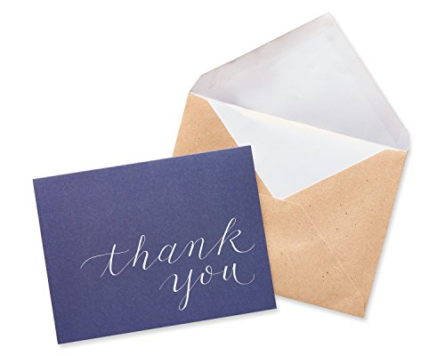 American Greetings Navy Blue Thank-You Cards and Brown Kraft-Style Envelopes, 50-Count by American Greetings