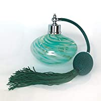 Global Village Art Glass Perfume Bottle Atomizer Spritz Bulb Spray (Jade Swirl)