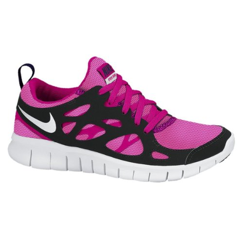 Nike Kid's Free Run 2 LE (GS), VIVID PINK/WHITE/PINK GLOW/BLACK, Youth Size 6