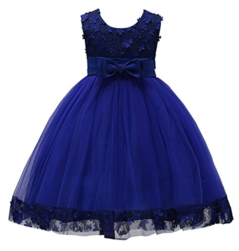 KISSOURBABY Flower Wedding Dresses Girls Knee Length Party Dance Prom Ball Gown Christmas Dress Size 6 7 (Blue,130) Christmas Ball Gowns