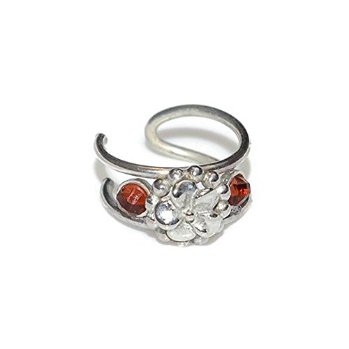 iercing Ring with 2mm Garnet / Nose Cuff, Fake Nose Ring, Ear Cuff ()