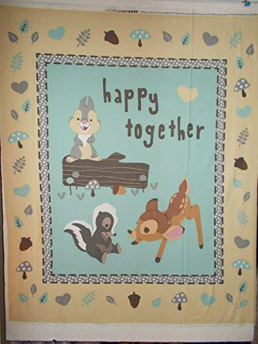 Bambi Thumper Flower Disney Quilt Panel Happy Together Cream 36