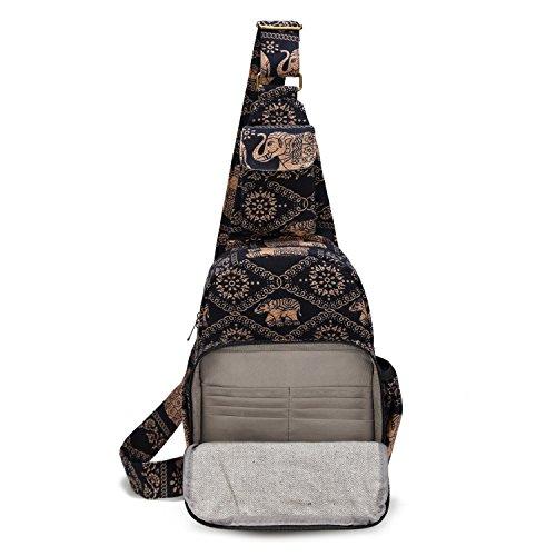 MIANZI Women Sling Bag Outdoor Sport Canvas Large capacity Crossbody Shoulder Cotton Fashion Backpack (Black) by MIANZI (Image #2)