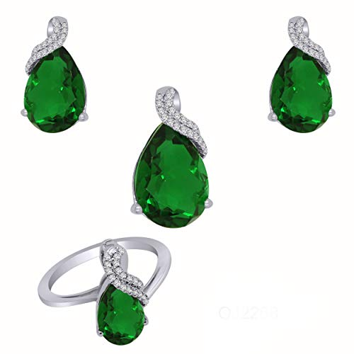 10K Gold Pear Shape Simulated Green Emerald & 0.34 Ct Diamond Solitaire Jewelry Set (white-gold) ()
