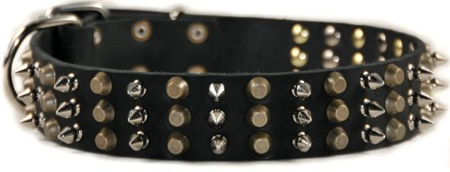 """Dean and Tyler """"3+3"""", Leather Dog Collar with Heavy Nickel and Brass Hardware – Black – Size 26-Inch by 1-3/4-Inch – Fits Neck 24-Inch to 28-Inch"""