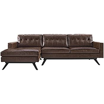 TOV Furniture The Blake Collection Contemporary Living Room Antique Linen Upholstered LAF Sectional, Chestnut
