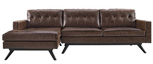 Tov Furniture Blake Antique LAF Sectional, Chestnut (Raf Leather Sectional)