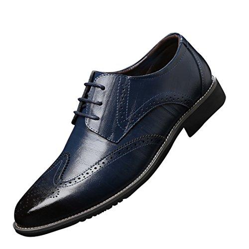 Chaussures de Ville pour Hommes Neuves Cuir PU à Lacets Bout d'affaires Oxfords Chaussures Bleu Fk2MJk