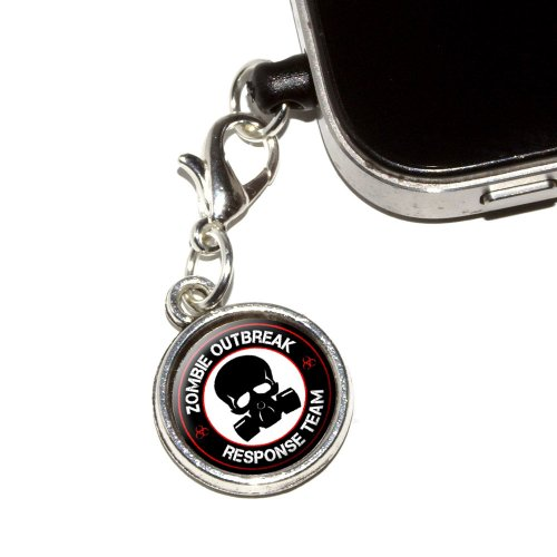 UPC 095614488344, Graphics and More Zombie Outbreak Response Team Red on Black - Gasmask Skull Anti-Dust Plug Earphone Headset Jack Charm for Mobile Phones - 1 Pack - Non-Retail Packaging - Antiqued Silver