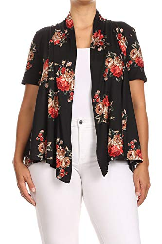 - Plus Size Floral Polka Print Loose Fit Open Front Draped Cardigan/Made in USA Floral Black Red XL