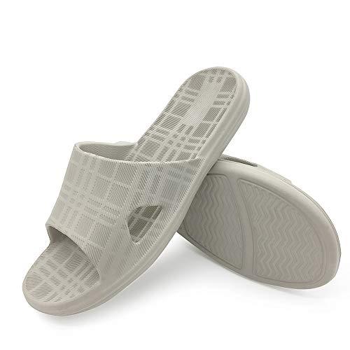 - LUFFYMOMO Bathroom Shower Sandals Womens Mens Anti-Slip Eva Bath House Slippers(10 M US Grey)