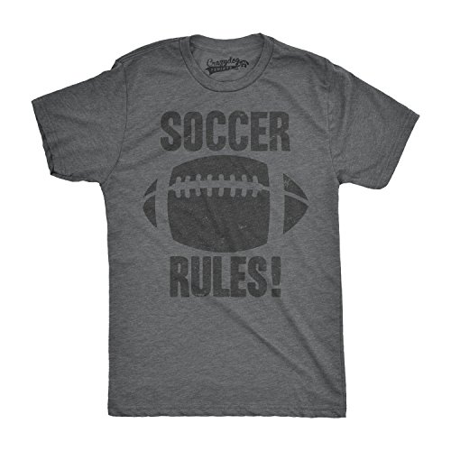 Crazy Dog TShirts - Mens Soccer Rules Funny Football European Soccer Sports Athlete T shirt (Grey) XL - herren - XL