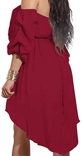 Solid Belted Wine Dress Womens Mini Waist Color Shoulder Pleated High Red Cromoncent Off xYawXqSqU