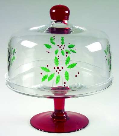 GORHAM HOLIDAY FESTIVE HOLLY BERRIES CAKE DOME