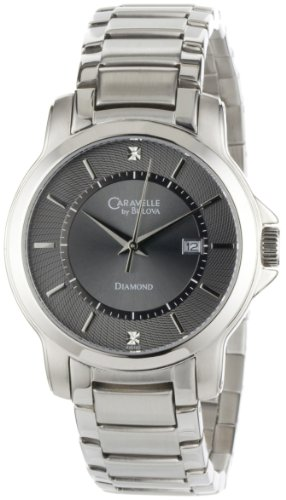 Caravelle by Bulova Men's 43D102 Distinctive Grey Diamond Dial Watch
