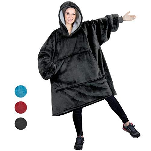 PAVILIA Sherpa Fleece Hoodie Blanket Sweatshirt for Adult Women and Men | Comfy, Cozy, Warm, Plush, Reversible | Gray Oversized Wearable Throw Blanket with Hood and Giant Pocket (Charcoal) ()