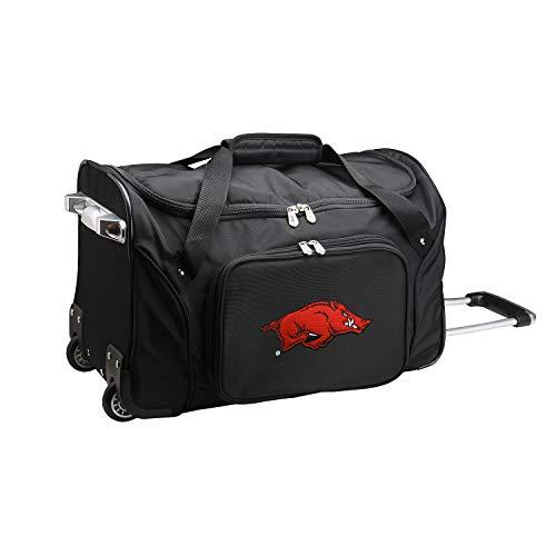 NCAA Arkansas Razorbacks Wheeled Duffle Bag, 22 x 12 x 5.5, Black