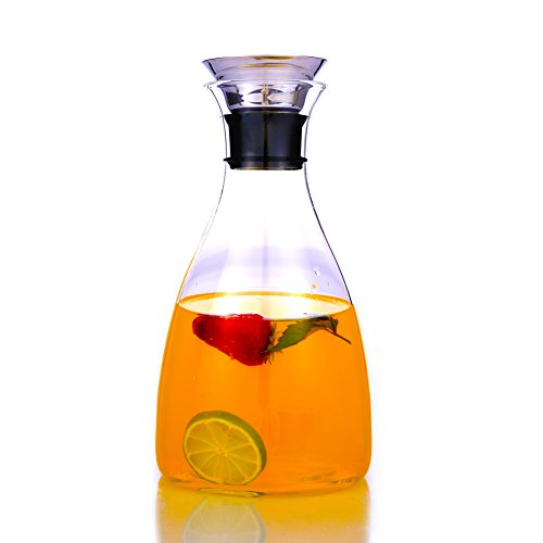 63 Ounces Glass Carafe with Stainless Steel Silicone Flip-top Lid, Drip-free Water Pitcher for Hot/Cold Water, Coffee, Ice Tea and Juice Beverage