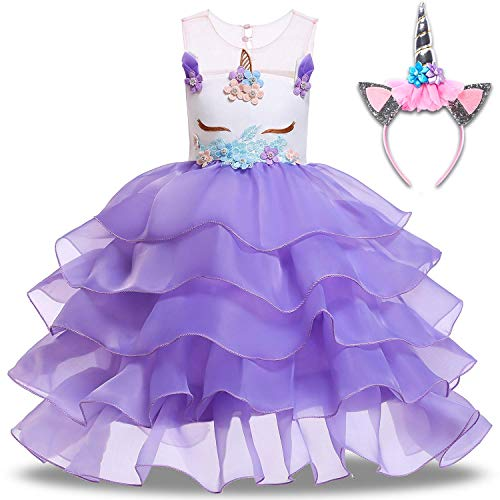 Baby Girl Unicorn Costume Dress Pageant Flower Princess