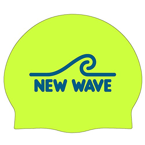 New Wave Swim Cap - Silicone Swim Cap Swim Buoy (Neon Green)