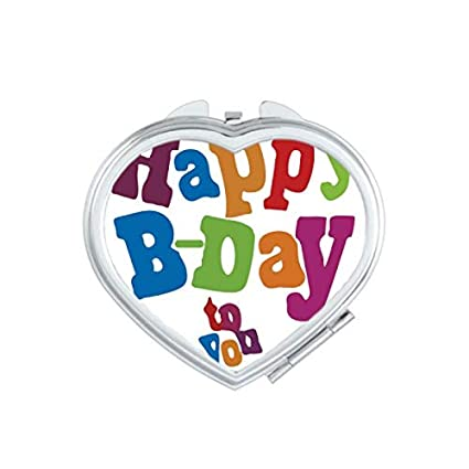 Colorful Happy Birthday Gifts Presents Cartoon Letters Blessing Beautiful Best Wishes Heart Compact Makeup Pocket Mirror