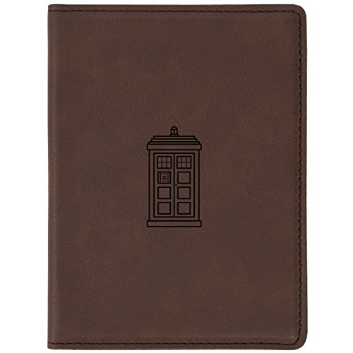 """Price comparison product image Police Box Brown Leather Passport Holder - Laser Etched Design - 4 X 5.5"""" Engraved Passport Holder For Women And Men"""