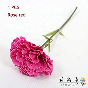 LUCKUP 6 PCS Short Single stem Artificial Flower Carnation Silk Flowers Home Wedding Party Decoration 10 Colors Available F475 71