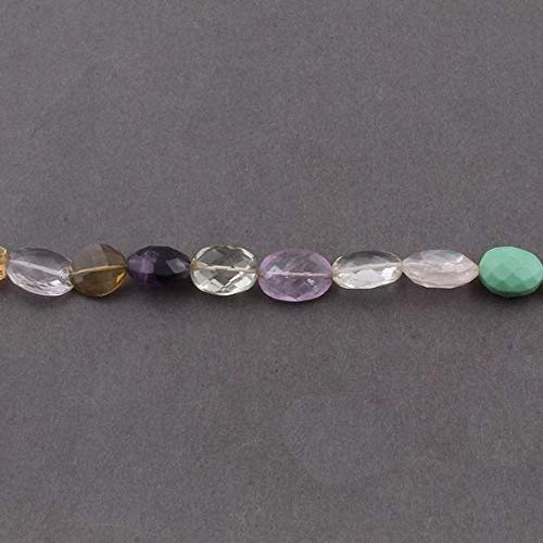 1 Strand Multi Stone Faceted Flat Oval Centre Drill Briolettes - Mix Stones Beads 12x10-15x11 mm 7.5