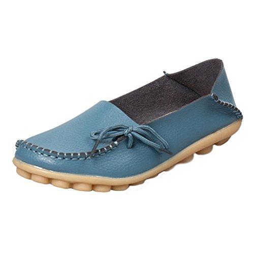 Chaussures De Conduite Pour Femme Cuir De Vachette Mocassins À Lacets Occasionnels Chaussures Bateau Bleu Clair