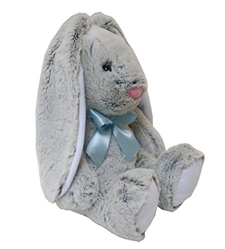 Animal Alley Hop! 20 Inch Long Ear Plush Easter Bunny - Gray with Blue -