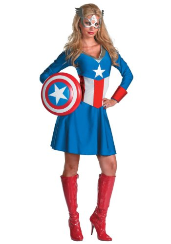 Disguise Womens Marvel Avengers Miss Classic Captain America Halloween Costume, Large (12-14)