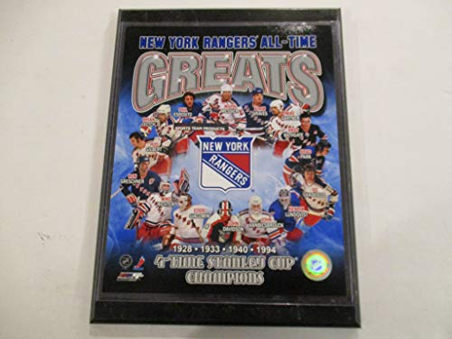 NEW YORK RANGERS *ALL-TIME GREATS* *4-TIME STANLEY CUP CHAMPIONS* FEATURING ROD GILBERT - MARK MESSIER - PHIL ESPOSITO PHOTO FILE MOUNTED ON A 9