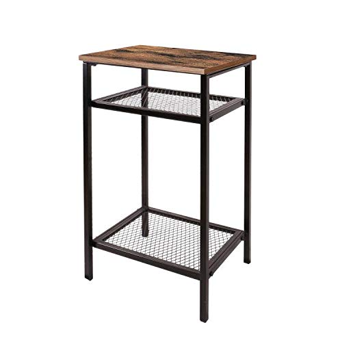 Vintage Industrial Side Table, End Telephone Table with 2-Tier Mesh Shelves, for Office Hallway or Living Room, Wood Look Accent Furniture with Metal Frame ,Rustic Brown
