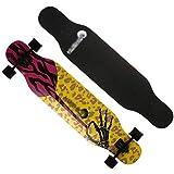 Longboard Skateboard Male and Female Dance Board Anti-Impact Skateboard High Elastic PU Wheel Skateboard (Color : F)