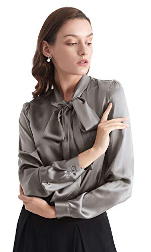 LilySilk Bow-tie Neck Silk Blouse for Women Long Sleeve Ladies Tops Buttons VintageReal Silk Shirts (Dark Gray, XS/0-2)