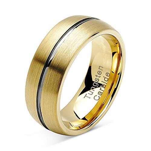 (100S JEWELRY Tungsten Rings for Mens Gold Wedding Bands Silver Grooved Two Tone Dome Style Size 8-16 (10))