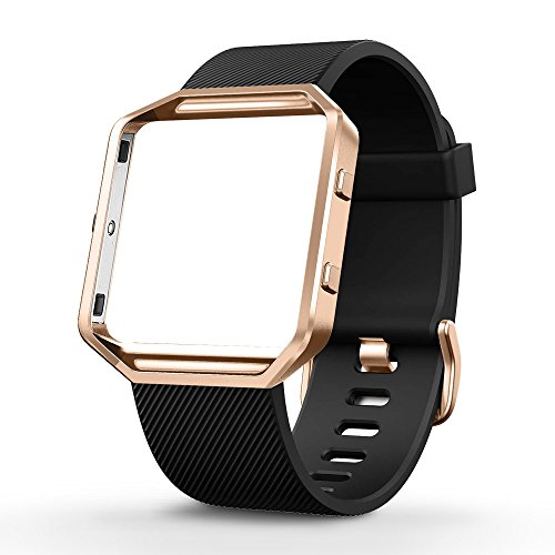 UMTELE Silicone Replacement Band with Rose Gold Frame for Fitbit Blaze Smart Fitness Watch, Small, - Blaze Black
