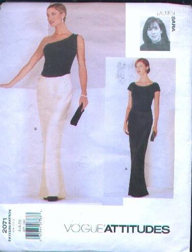 Vogue Attitudes Dress Patterns - Lauren Sara Designer, Vogue #2071 - Sizes 6-8-10