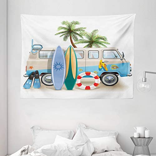 Ambesonne Surf Tapestry, Surfing Weekend Concept with Diving Elements Fins Snorkeling and Van Trip Relax Peace, Wide Wall Hanging for Bedroom Living Room Dorm, 80 X 60 , Yellow Blue