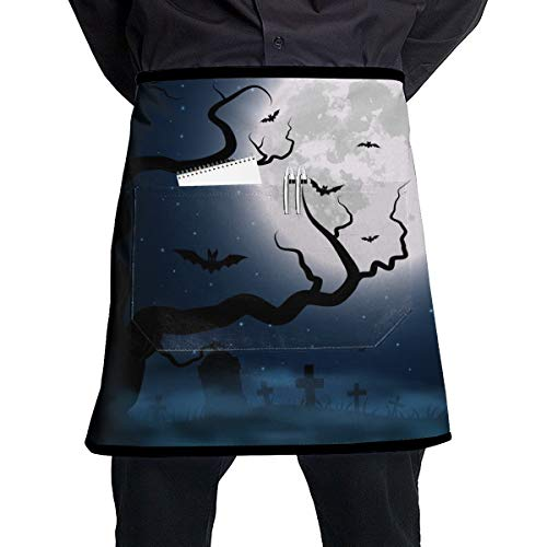 Cureably Halloween Night Moon Bat Dead Tree Half-Length Apron with Pockets Unisex for Kitchen Restaurant BBQ ()
