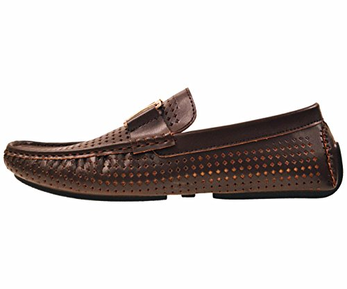 Amali Mens Driving Moccasin Loafer in Diamond Perforated Smooth with Gold Ornament in Brown: Style 1425 Brown-065
