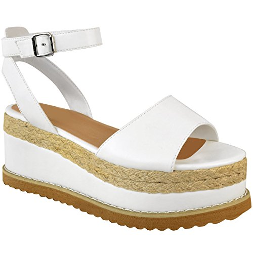 Fashion Thirsty New Womens Ladies Chunky Espadrille Strappy Sandals Flatform Wedge Shoes Size White Faux Leather OotjhK