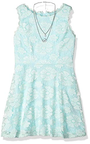 Amy Byer Girls' Big Fit & Flare Allover Lace Dress, Mint, 10