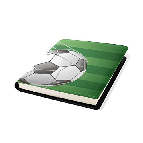 LORVIES Soccer Ball in Goal with Grass Field Book Sox Stretchable Book Cover, Fits Most Hardcover Textbooks up to 9 x 11. Adhesive-Free, Pu Leather School Book Protector