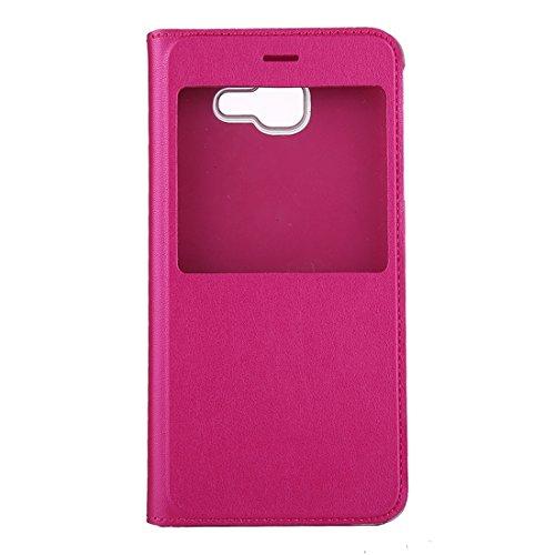 XIAOGUA Cases & Covers, Para Samsung Galaxy J7 Max PU + PC Funda de cuero con tapa horizontal y pantalla de identificación de llamadas ( Color : Black ) Magenta