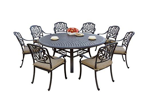 Darlee 9 Piece Elisabeth Cast Aluminum Dining Set with Sesame seat cushions and 71'' Round Dining Table, Antique Bronze Finish