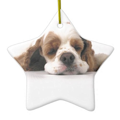 Christmas Ornaments Holiday Tree Ornament Sleeping Red White Cocker Spaniel Both Sides Star Ceramic Ornament Crafts Christmas Gifts