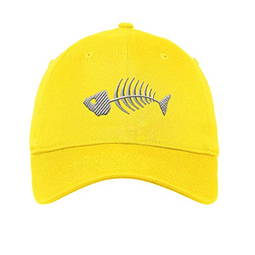 Speedy Pros LowProfileSoft Hat Fish Skeleton Embroidery Design Cotton Dad Hat Flat Solid Buckle Yellow Design Only