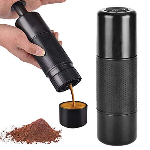 Portable Espresso Machine Mini Travel Coffee Maker, 21 Bar Pressure Portable Espresso Coffee Maker,Manually Operated Compatible for Ground Coffee