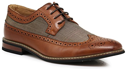 Titan01 Men's Spectator Tweed Plaid Two Tone Wingtips Oxfords Perforated Lace Up Dress Shoes (8, - Titan Oxford Mens